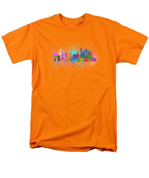 Paris Skyline Paint Splatter Color Illustration Men's T-Shirt  (Regular Fit) by Jit Lim