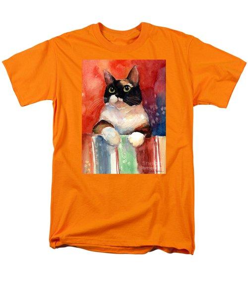 Pensive Calico Tubby Cat Watercolor Painting Men's T-Shirt  (Regular Fit) by Svetlana Novikova