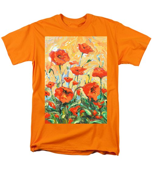 Men's T-Shirt  (Regular Fit) featuring the painting Poppies On A Yellow            by Dmitry Spiros