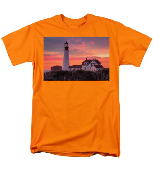 Men's T-Shirt  (Regular Fit) featuring the photograph Portland Head Light Sun Set  by Emmanuel Panagiotakis