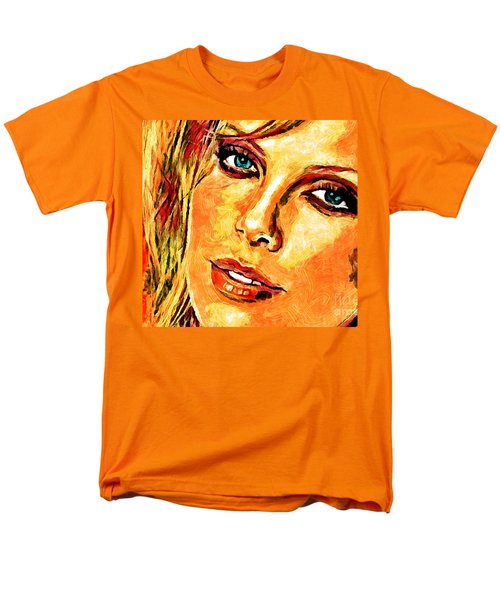 Men's T-Shirt  (Regular Fit) featuring the digital art Portrait Of Charlize Theron by Zedi