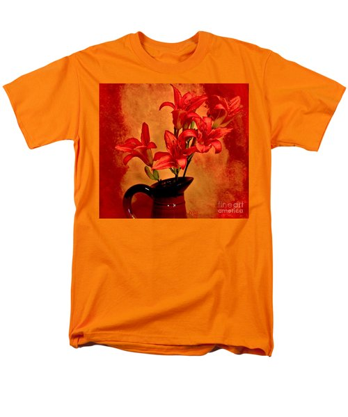 Red Tigerlilies In A Pitcher Men's T-Shirt  (Regular Fit) by Marsha Heiken