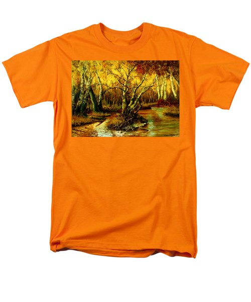 Men's T-Shirt  (Regular Fit) featuring the painting River In The Forest by Henryk Gorecki