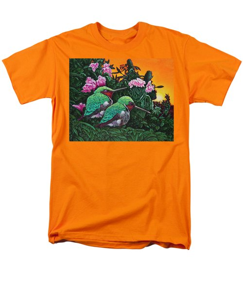 Men's T-Shirt  (Regular Fit) featuring the painting Ruby-throated Hummingbirds by Michael Frank