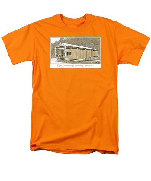 Men's T-Shirt  (Regular Fit) featuring the digital art Rupert Covered Bridge Bloomburg Pennsylvania by A Gurmankin