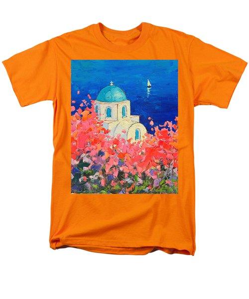 Santorini Impression - Full Bloom In Santorini Greece Men's T-Shirt  (Regular Fit) by Ana Maria Edulescu