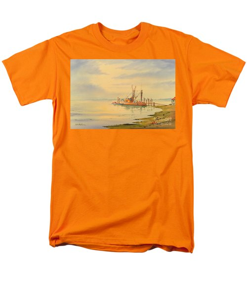 Men's T-Shirt  (Regular Fit) featuring the painting Shrimp Boat Sunset by Bill Holkham
