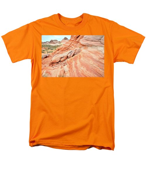 Men's T-Shirt  (Regular Fit) featuring the photograph Striped Sandstone Along Park Road In Valley Of Fire by Ray Mathis