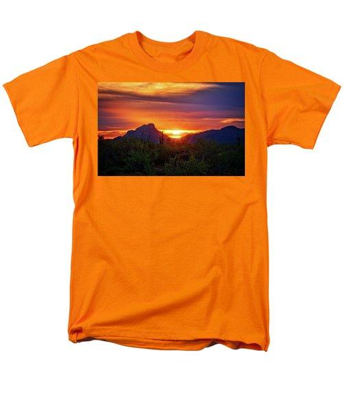 Men's T-Shirt  (Regular Fit) featuring the photograph Sun Setting On Red Mountain  by Saija Lehtonen