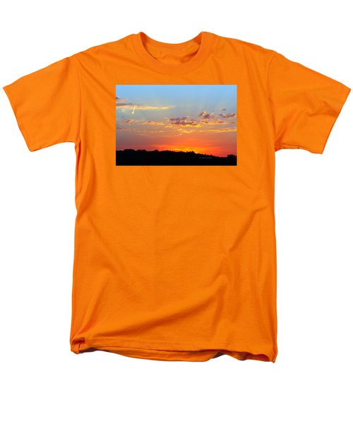 Men's T-Shirt  (Regular Fit) featuring the digital art Sunset Glory Orange Blue by Jana Russon