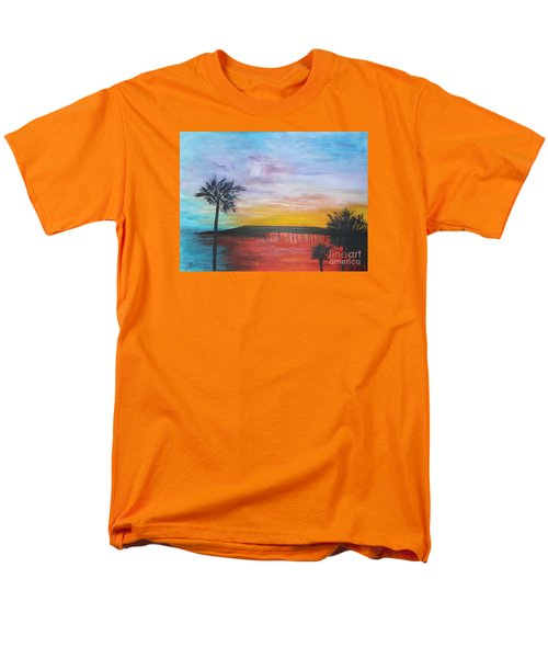 Men's T-Shirt  (Regular Fit) featuring the painting Table On The Beach From The Water Series by Donna Dixon