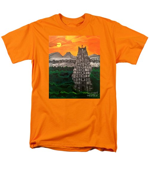 Men's T-Shirt  (Regular Fit) featuring the painting Temple Near The Hills by Brindha Naveen