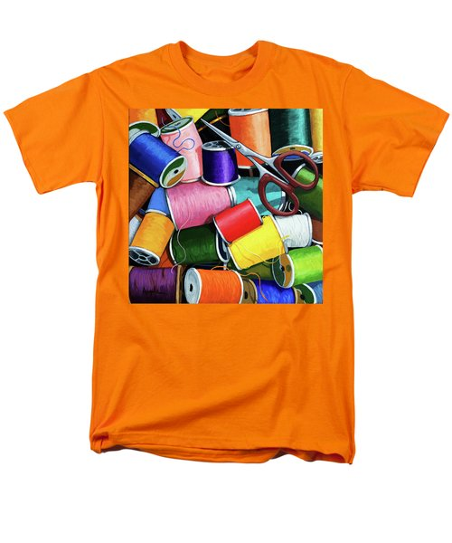 Time To Sew - Colorful Threads Men's T-Shirt  (Regular Fit) by Linda Apple