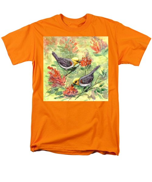 Men's T-Shirt  (Regular Fit) featuring the painting Tiny Verdin In Honeysuckle by Marilyn Smith