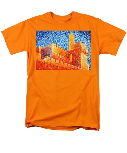 Men's T-Shirt  (Regular Fit) featuring the painting Tower Of David At Night Jerusalem Original Palette Knife Painting by Georgeta Blanaru