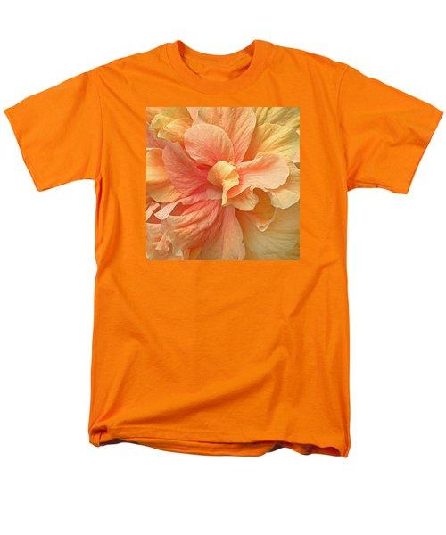 Tropical Peach Hibiscus Flower Men's T-Shirt  (Regular Fit) by Deborah Smith