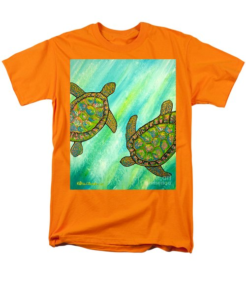 Men's T-Shirt  (Regular Fit) featuring the painting Turtle Sea Dance by Patricia L Davidson