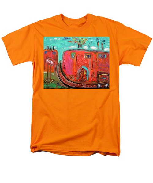 Men's T-Shirt  (Regular Fit) featuring the painting Usa Steel Still Fascinates by Mary Carol Williams