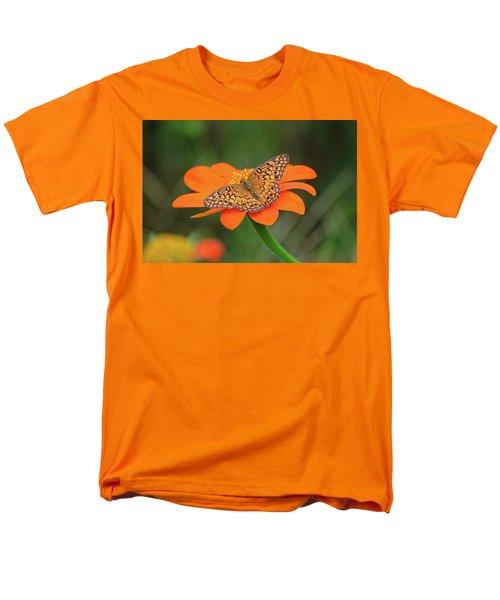 Variegated Fritillary On Flower Men's T-Shirt  (Regular Fit) by Ronda Ryan