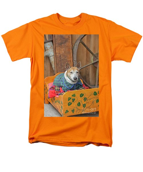 Men's T-Shirt  (Regular Fit) featuring the photograph Very Old Pet Dog In Clothes On Own Bed by Patricia Hofmeester