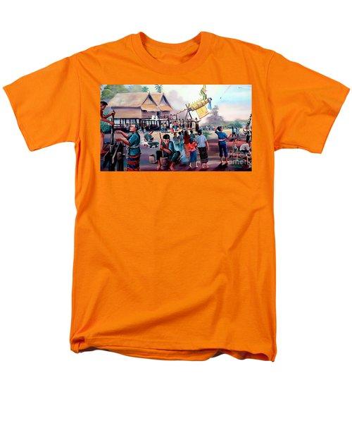 Village Rocket Festival-vintage Painting Men's T-Shirt  (Regular Fit) by Ian Gledhill