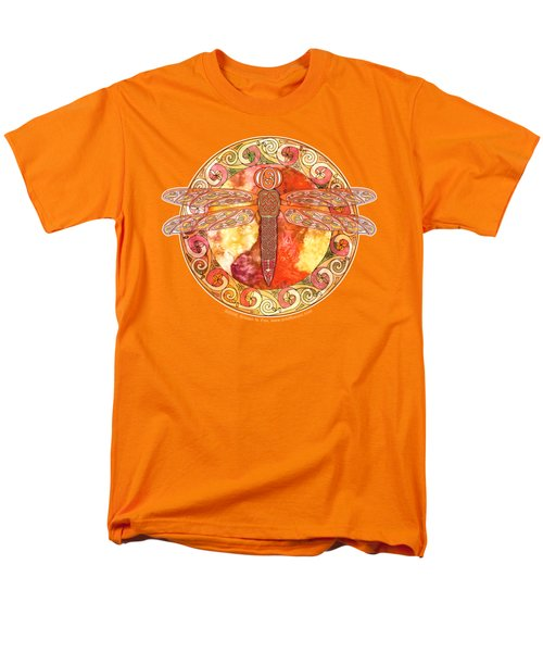 Men's T-Shirt  (Regular Fit) featuring the mixed media Warm Celtic Dragonfly by Kristen Fox