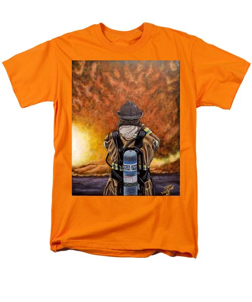 Men's T-Shirt  (Regular Fit) featuring the painting When Hell Comes To Visit by Dan Wagner