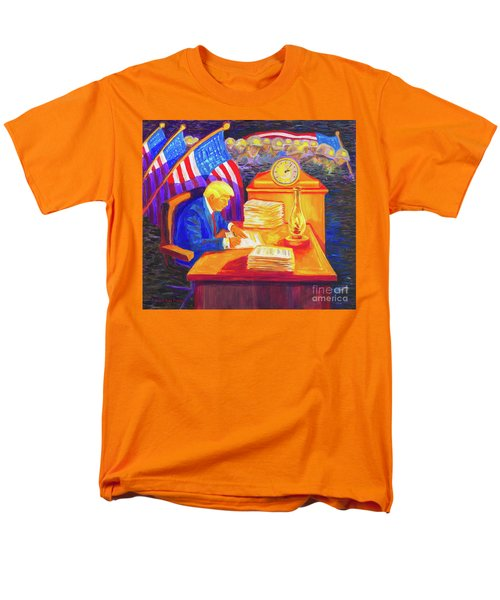 Men's T-Shirt  (Regular Fit) featuring the painting While America Sleeps - President Donald Trump Working At His Desk By Bertram Poole by Thomas Bertram POOLE