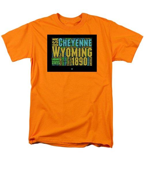 Wyoming Word Cloud Map 1 Men's T-Shirt  (Regular Fit) by Naxart Studio
