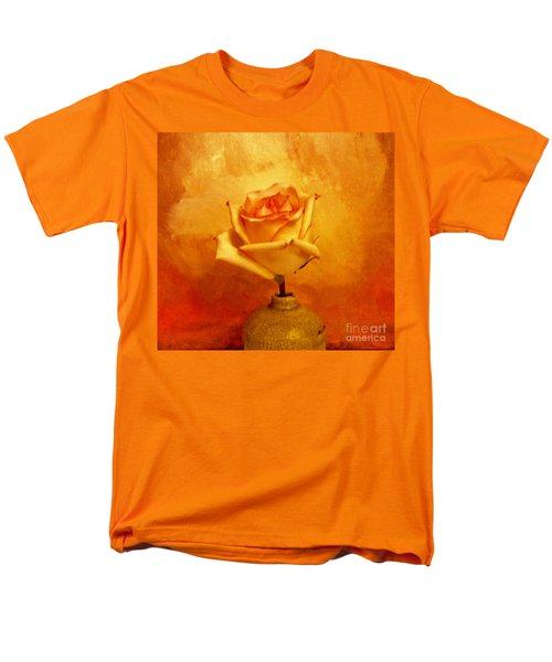 Men's T-Shirt  (Regular Fit) featuring the photograph Yellow Red Orange Tipped Rose by Marsha Heiken