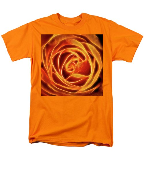 Men's T-Shirt  (Regular Fit) featuring the photograph Yellow Rose Glow Square by Terry DeLuco