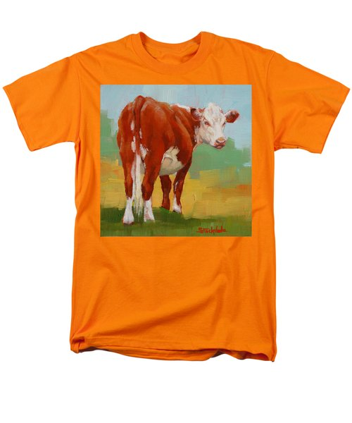 Men's T-Shirt  (Regular Fit) featuring the painting Young Cow by Margaret Stockdale
