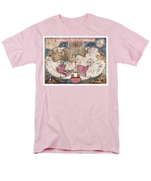 Men's T-Shirt  (Regular Fit) featuring the photograph Antique World Map 1695 Novus Planiglobii Terrestris Per Utrumque Polum Conspectus by Karon Melillo DeVega