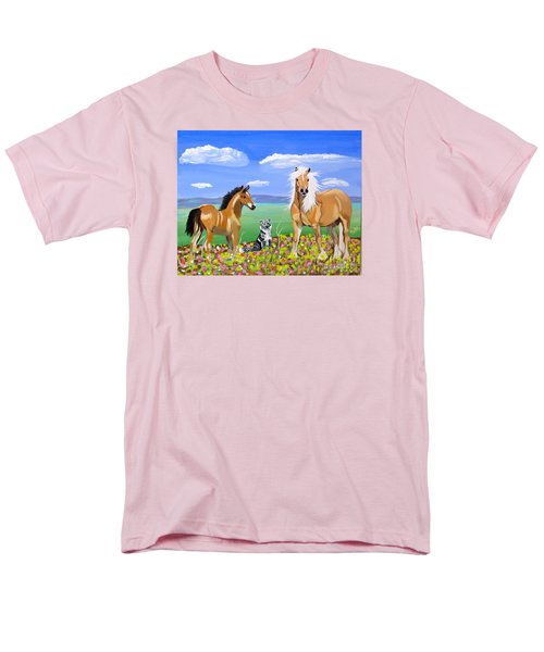 Bay Colt Golden Palomino And Pal Men's T-Shirt  (Regular Fit) by Phyllis Kaltenbach
