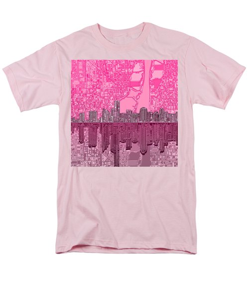Miami Skyline Abstract 4 Men's T-Shirt  (Regular Fit) by Bekim Art