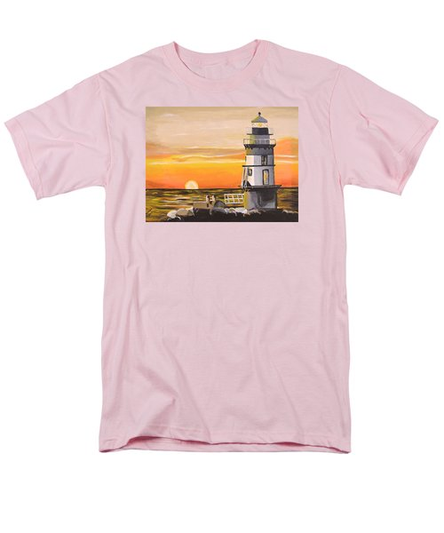 Orient Point Lighthouse Men's T-Shirt  (Regular Fit) by Donna Blossom