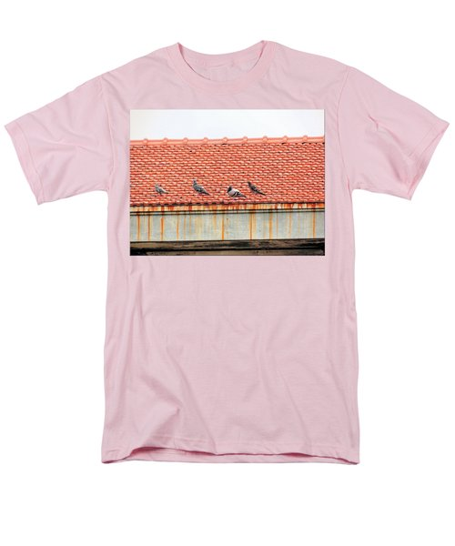 Men's T-Shirt  (Regular Fit) featuring the photograph Pigeons On Roof by Aaron Martens