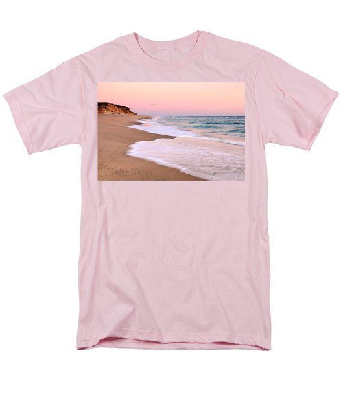 Men's T-Shirt  (Regular Fit) featuring the photograph Pink Pastel Beach And Sky by Roupen  Baker