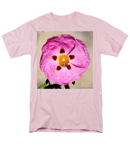 Pink Rock Rose Men's T-Shirt  (Regular Fit) by Suzanne Oesterling
