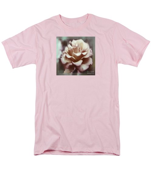 Men's T-Shirt  (Regular Fit) featuring the photograph Red White Rose by Jean OKeeffe Macro Abundance Art