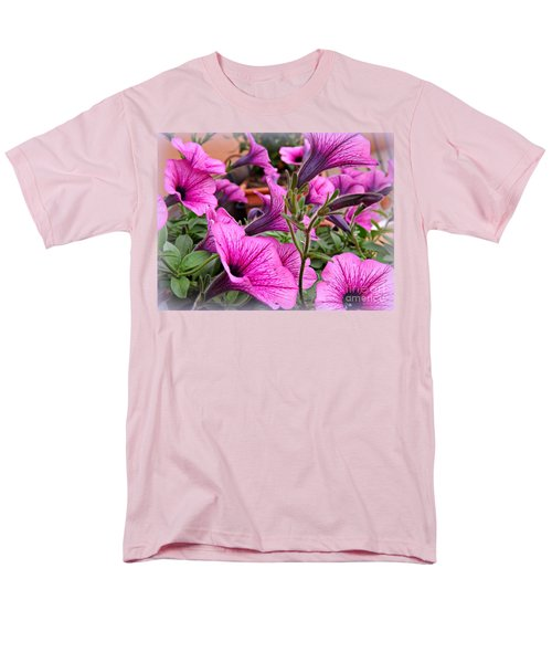 Men's T-Shirt  (Regular Fit) featuring the photograph Trailing Petunias by Clare Bevan