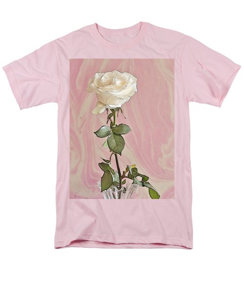 Men's T-Shirt  (Regular Fit) featuring the photograph White Long Stemmed Rose by Sandra Foster