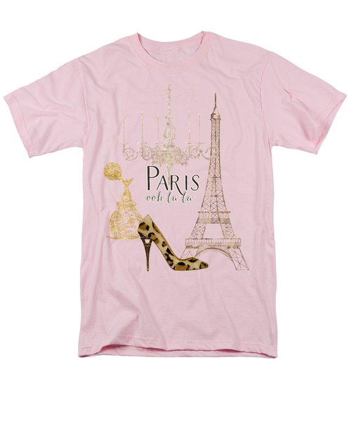 Paris - Ooh La La Fashion Eiffel Tower Chandelier Perfume Bottle Men's T-Shirt  (Regular Fit) by Audrey Jeanne Roberts