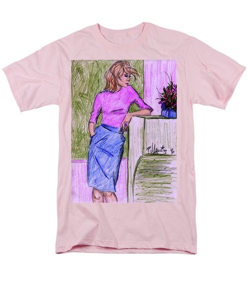 Men's T-Shirt  (Regular Fit) featuring the drawing Waiting by P J Lewis