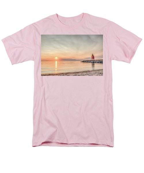 Charelvoix Lighthouse In Charlevoix, Michigan Men's T-Shirt  (Regular Fit) by Peter Ciro