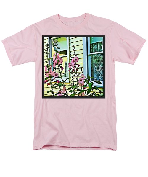 Men's T-Shirt  (Regular Fit) featuring the digital art A Holly Hocks Morning by Mindy Newman