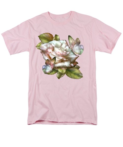 Men's T-Shirt  (Regular Fit) featuring the mixed media Antique Rose And Butterflies by Carol Cavalaris