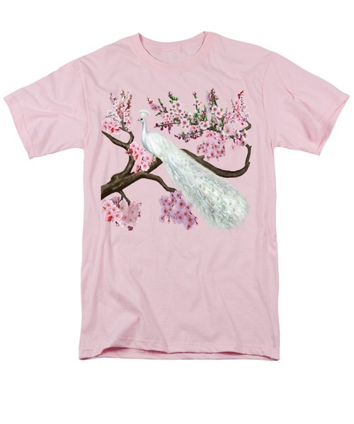 Cherry Blossom Peacock Men's T-Shirt  (Regular Fit) by Glenn Holbrook