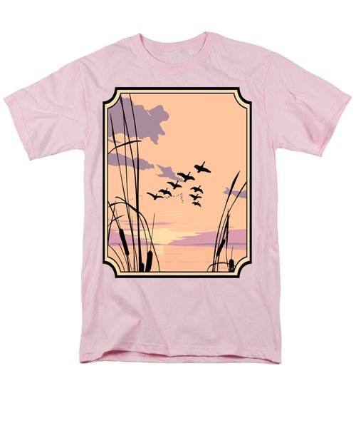 Abstract Ducks Sunset 1980s Acrylic Ducks Sunset Large 1980s Pop Art Nouveau Painting Retro      Men's T-Shirt  (Regular Fit) by Walt Curlee