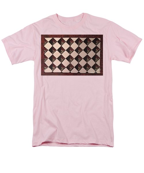 Black And White Checkered Floor Cloth Men's T-Shirt  (Regular Fit) by Judith Espinoza